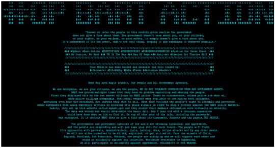 Carta abierta de Anonymous a propósito de la campaña contra la empresa de transporte rápido de San Francisco, 2011.