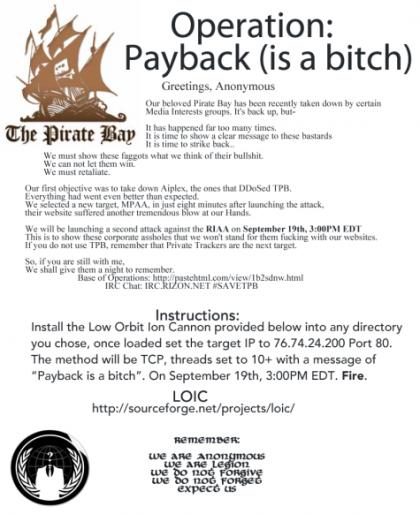 Instrucciones para participar en la Operación Payback, publicadas por Anonymous, 2010